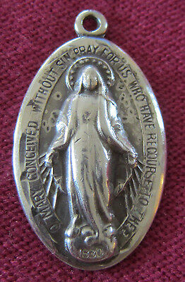 Vintage Catholic Religious Medal - STERLING BLISS - Miraculous - OLD / WORN