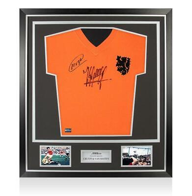 Johan Cruyff & Marco Van Basten Genuine Hand Signed Holland Framed Shirt COA