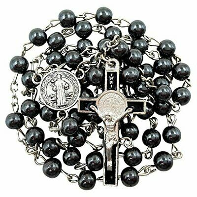 Black Hematite Beads Saint Benedict - Mens BLESSED CATHOLIC ROSARY NECKLACE