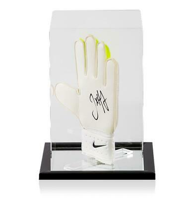 Joe Hart Official England Signed Lime and White Nike Goalkeeper Glove In Acrylic