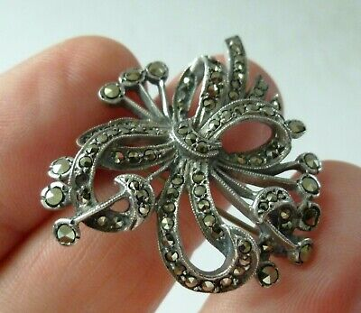Antique Sterling Silver Art Deco Marcasite Brooch Pin Bow Flowers 925 Hand Set