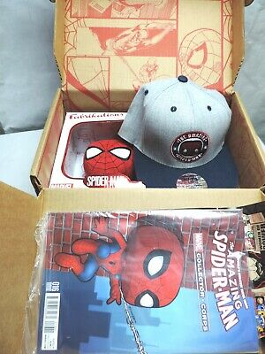 Funko Pop! Marvel Collector Corps Complete Box SPIDER-MAN #160 HAT 32 Lot Comic