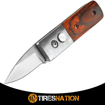 """5"""" Mini Collector Real Wood Handle Spring Assisted Pocket Survival Knife"""