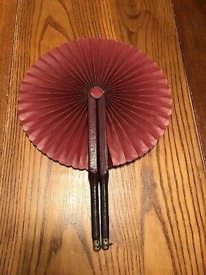 1880/90's Russian Chinese vintage foldable Leather Fan