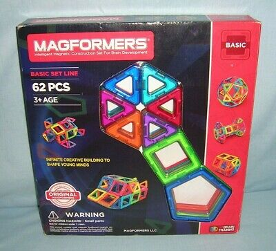 MAGFORMERS Basic Set 62 Pieces Magnetic Building Blocks ~ Educational NEW