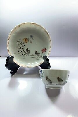 Chinese Antique Porcelain Tea Cup Saucer Plate Set Quails Flower Scene Christies
