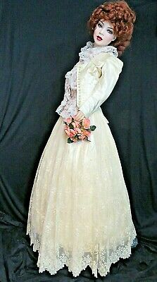 ANTIQUE Victorian DRESS 1880 WEDDING GOWN Brussels LACE Skirt SILK fitted TOP