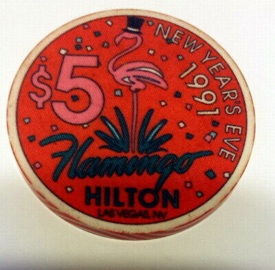 FLAMINGO HILTON Ltd Ed 1991 New Years Eve LAS VEGAS CASINO 5 Dollar CHIP EUC