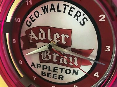 Adler Brau Appleton Wisconsin Beer Bar Advertising Man Cave Neon Wall Clock Sign