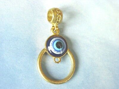 Gold Plated Ancient Egyptian Style Blue Evil Eye  Men / Women Pendant Necklace