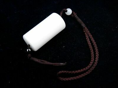 White Jade Crafted Cylinder Shaped Pendant Sculpture w/ Carrying Strap #02281901