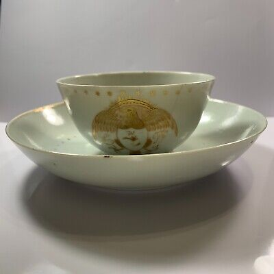 Chinese Antique Export Porcelain Tea Cup And Saucer Eagle Crest Great Seal 1700s