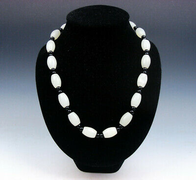 White Jade Beads Necklace 25-35cm Flexible Length 1.7cm Beads Thickness #030819