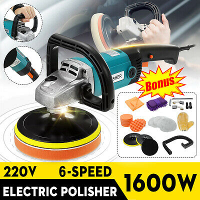 AU Electric Polisher Car Buffer 180mm 150mm Sander Tools kit Set 8 Speed 1600W