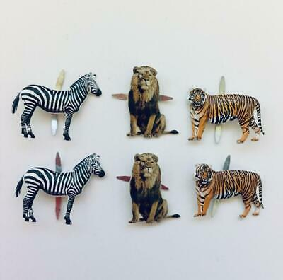 BRADS JUNGLE ANIMALS pk of 6 lion tiger zebra zoo split pin craft cards