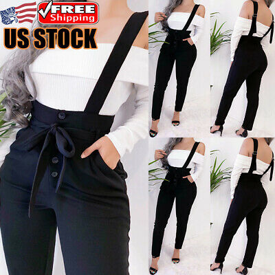 Women High Waist Casual Pencil Pants Straps Stretch Suspender Trousers Dungarees