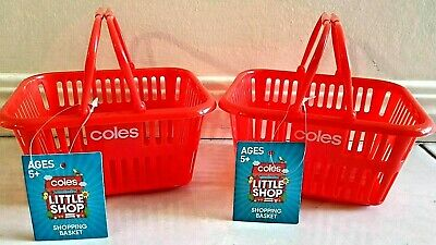 U GET 2 baskets NEW & TAG Coles Little Shop 2 BASKET Mini Collectable red
