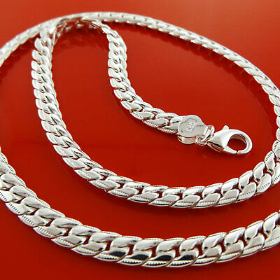 """Necklace Chain Real 925 Sterling Silver S/F Ladies Antique Link Design 20"""""""