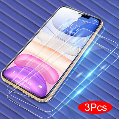 3Pcs For iPhone 11 Pro Max Xs X 8 9H Tempered Glass Screen Protector Film Guard