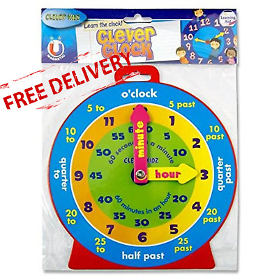 TEACHING CLOCK Childrens Learn To Tell The Time Boys Girls Kids Educational Toy