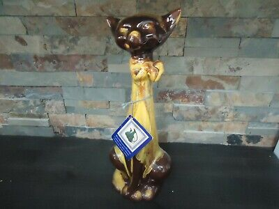 Vintage Large Cat Blue Mountain Pottery-Bmp-Harvest Gold-With Original Tag