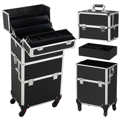 Black Rolling Aluminum Makeup Trolley Artist Train Case Cosmetic Organizer Box