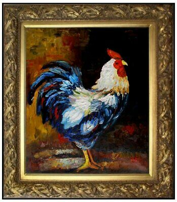 Framed, The Rooster, Quality Hand Painted Heavy Impasto Oil Painting 20x24in