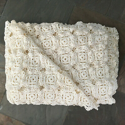 "Vintage Cotton Hand Crocheted Tablecloth or Coverlet 58"" x 80"""