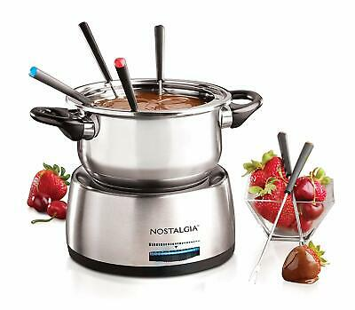 Nostalgia FPS200 6-Cup Stainless Steel Electric Fondue Pot with Temperature