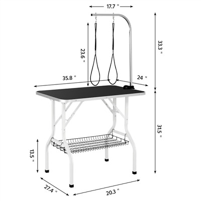 Black Folding Pet Grooming Table 36 Adjustable Arm W/Clamp +Mesh Tray Included