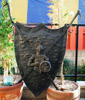 VTG Medieval Knight Shield w/ Swords Coat of Arms Iron Wall Decor / Bar Sign Art