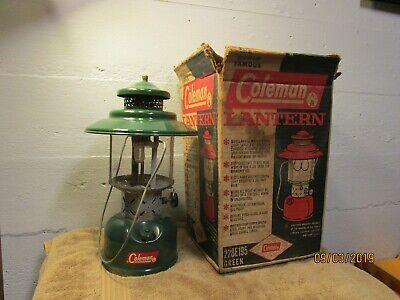 Vintage Coleman Lantern Model No. 228E Green Glass Metal Box 1961 Mantles 60s