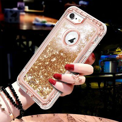 360° Liquid Glitter Bling Heavy Duty Case Cover For iPhone XS Max XR 7 8 Plus 6S