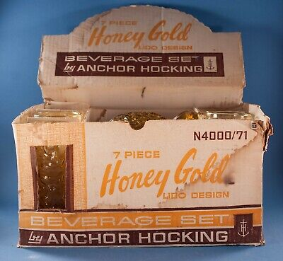 Vtg Anchor Hocking Lido Amber Honey Gold Beverage Set Pitcher Tumblers Box 7 Pcs