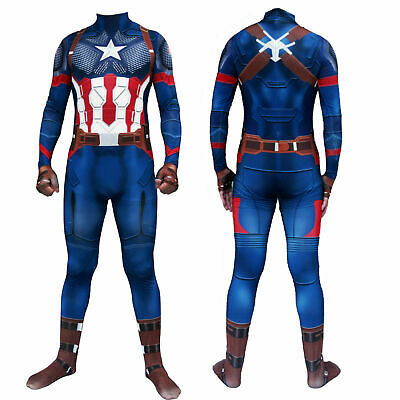Captain America Costume Cosplay Halloween Dress Costume Ball Adult Fancy New
