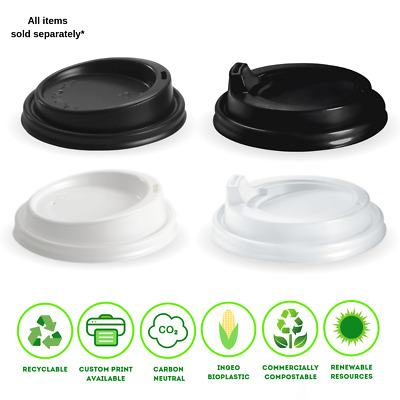 BioPak Coffee Cup Lids 8oz / 12oz / 16oz (90mm)