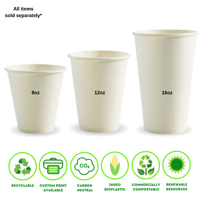 Single Wall White BioPak Coffee Cups 8, 12, 16oz (90mm)