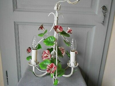 1970s Vintage French tole CEILING LIGHT Hanging Fixture