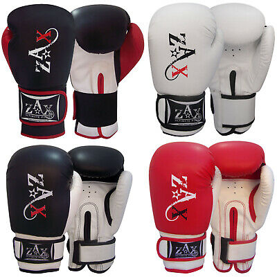 Leather Boxing Gloves Gel Padded Sparring Punch Bag Mitts Gloves Junior & Adults