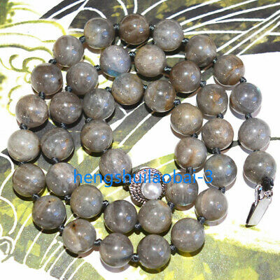 """Gray Natural Labradorite 10mm round necklace 18"""" Pearl Clasp AAA"""