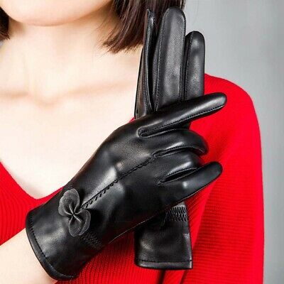 Ladies Women Winter Warm Soft Sheepskin Real Leather Gloves with soft nap