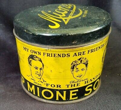 Old Advertising Tin MIONE Hand Soap Mione Mfg Co Collingdale PA Great Graphics