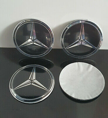 4 STICKERS LOGO MERCEDES 56mm caches moyeu jante / NEUF