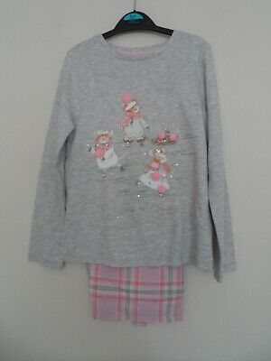 Bnwot new george girls pink & grey pyjama`s with skating mice age 5-6 years