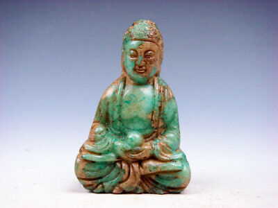 Old Nephrite Jade Carved Sculpture Seated Shakyamuni Buddha Praying #09251901