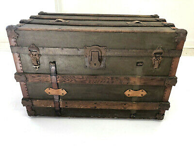 Marvelous Antique Steamer Trunk Vintage Coffee Table Wood Metal Pdpeps Interior Chair Design Pdpepsorg