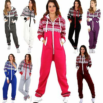 Adult Ladies Zip Hooded Aztec 1Onesie Womens Fleece Jumpsuit Playsuit All In One