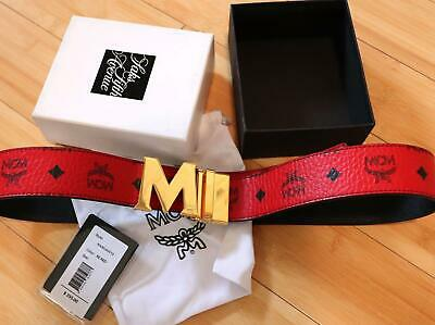 NWT Authentic MCM Cognac Red Reversible Belt Gold Buckle