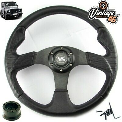 Land Rover Defender Black Motorsport Steering Wheel 48 Spline Boss Kit & Horn