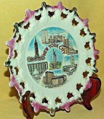 New York Plate Twin Towers Statue Liberty Empire State Manhattan Vintage Japan.